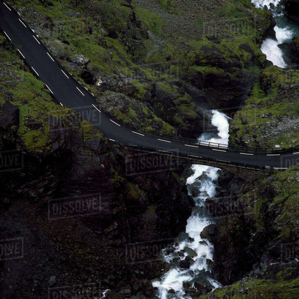 Norway, Trollstigen, Elevated road over river in summer Royalty-free stock photo