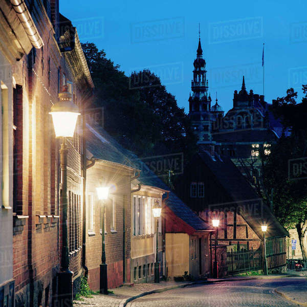 Sweden, Skane, Lund, Street of town at autumn night Royalty-free stock photo