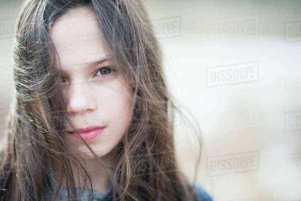 Sweden, Portrait of girl (10-11) with messy brown hair Royalty-free stock photo