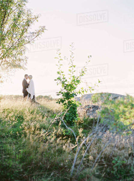 Sweden, Bride and groom standing face to face in grass Royalty-free stock photo