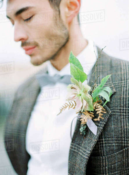 Sweden, Halland, Varberg, Portrait of groom wearing tuxedo Royalty-free stock photo