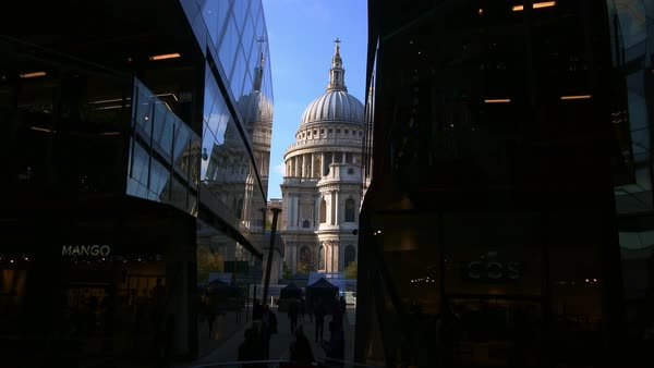 A gimbal shot from an elevator of St Paul's Cathedral in London Royalty-free stock video