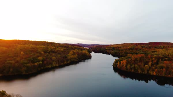 Aerial shot of upstate New York lakes and wilderness during the autumn Royalty-free stock video