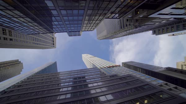 Vertical view of high rise office buildings in business district in New York City Royalty-free stock video