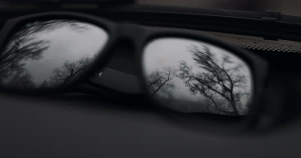Slow motion shot of trees seen through sunglasses during road trip Royalty-free stock video