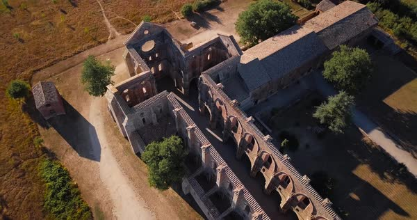 Drone view over old San Galgano Church, Tuscany, Italy Royalty-free stock video