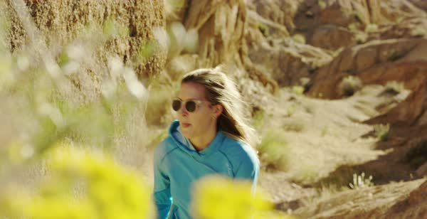 Slow motion shot of women hiking in Alabama Hills Royalty-free stock video