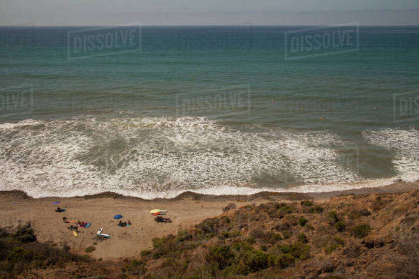 High angle view of ocean waves on beach Royalty-free stock photo
