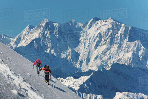 Caucasian hikers climbing snowy mountain, Monte Rosa, Piedmont, Italy Royalty-free stock photo