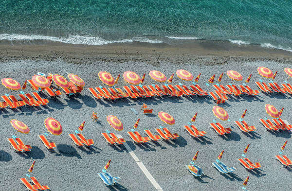 Aerial view of lawn chairs and umbrellas on beach Royalty-free stock photo