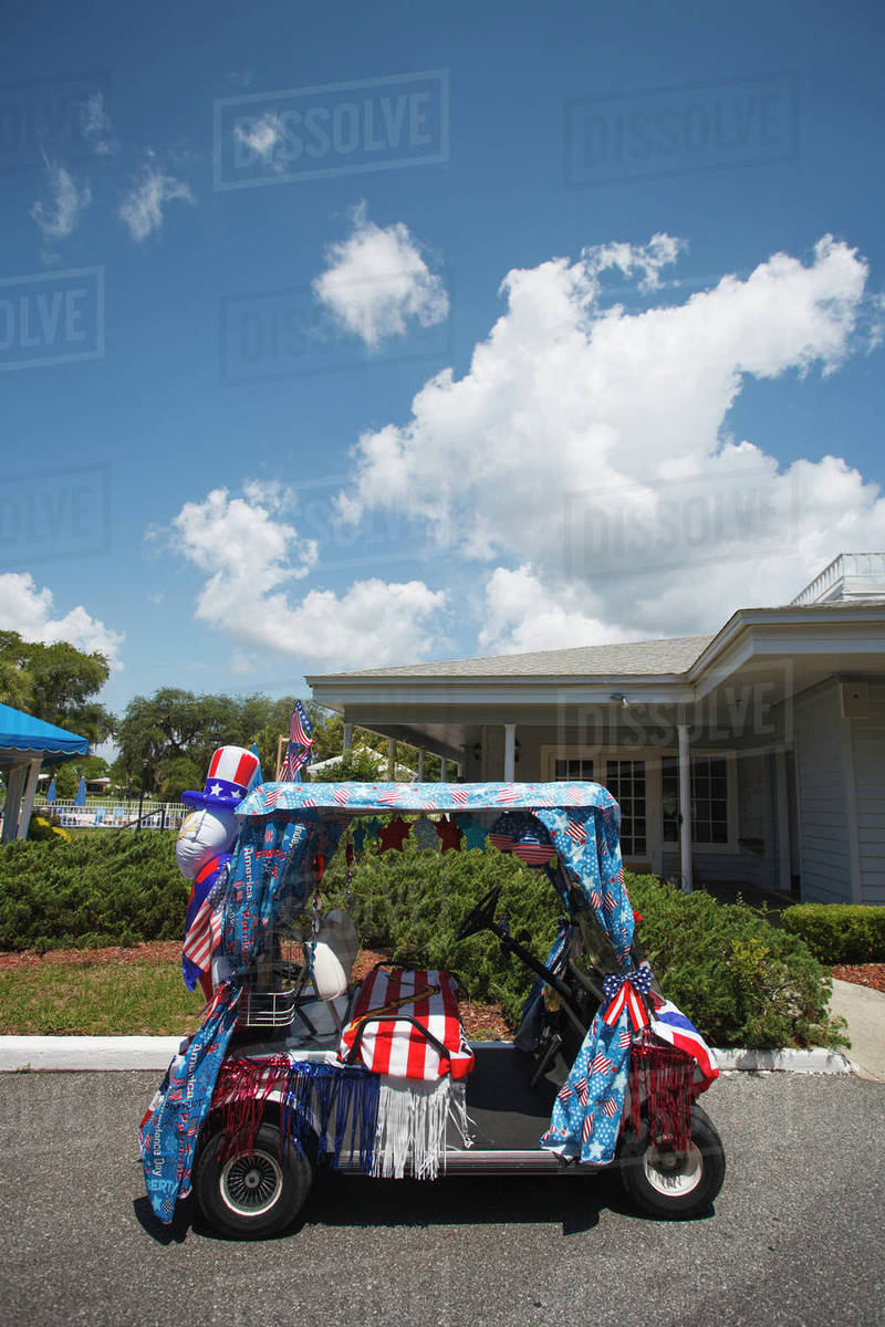Golf cart decorated for Fourth of July - Stock Photo - Dissolve Golf Cart Decorations For Th Of July on betty boop july 4th, golf cart decorating ideas, golf cart christmas sleigh,