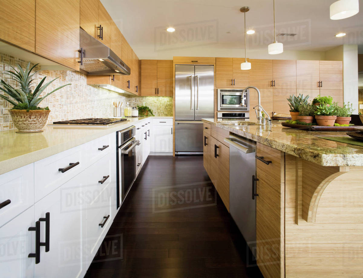 Contemporary Kitchen With Bamboo Cabinets D145 200 643
