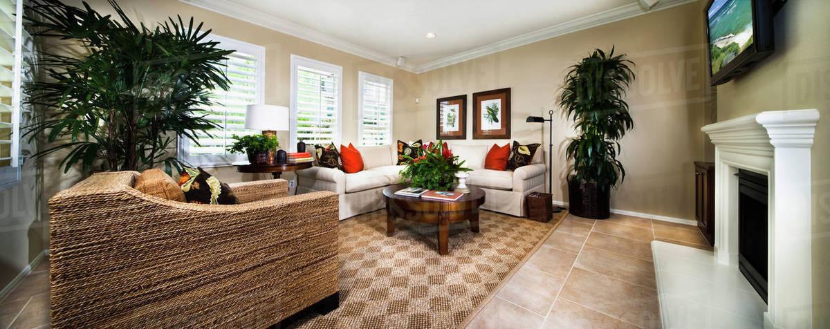 armchair and sofa in contemporary living room, azusa, california