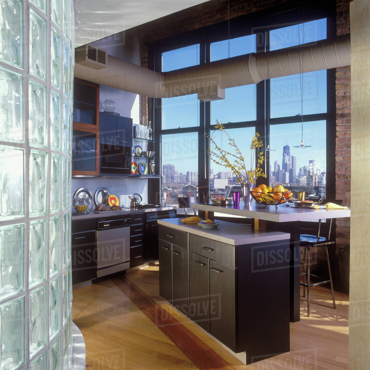 Delicieux Loft Kitchen, Chicago Skyline, Old Factory Building, Wood Floors, Black  Contemporary Cabinets, Open Duct Work, Forsythia,