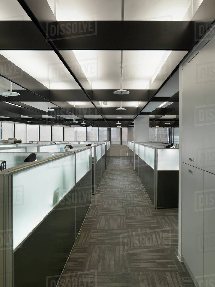 Interior Of A Contemporary Office Space With Cubicles