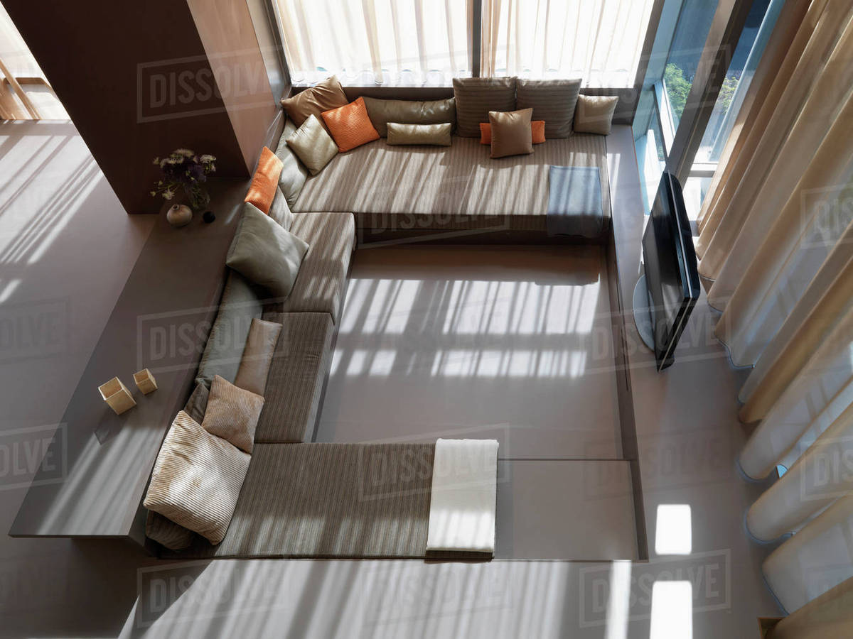 Aerial View Of Modern Living Room Stock Photo Dissolve