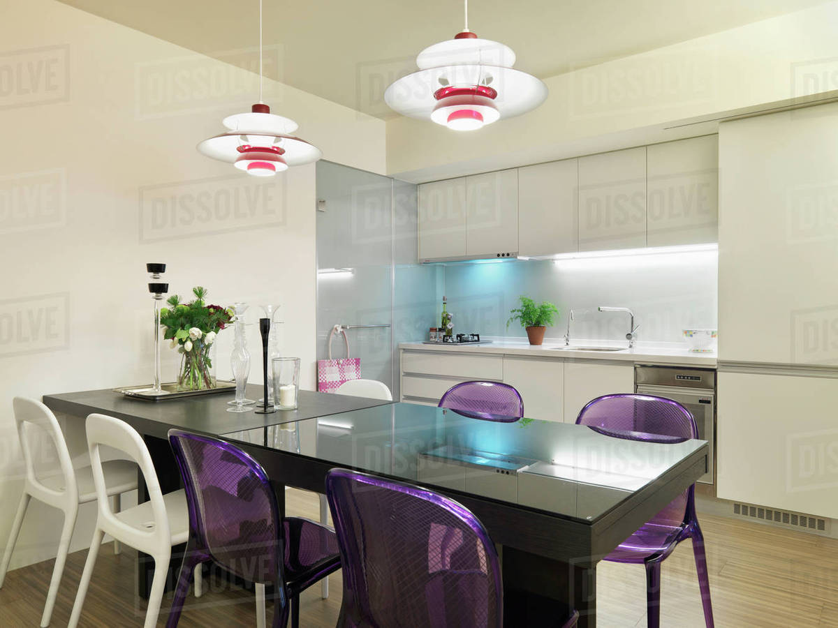 Black Dining Table With Purple And White Chairs D145 202 767
