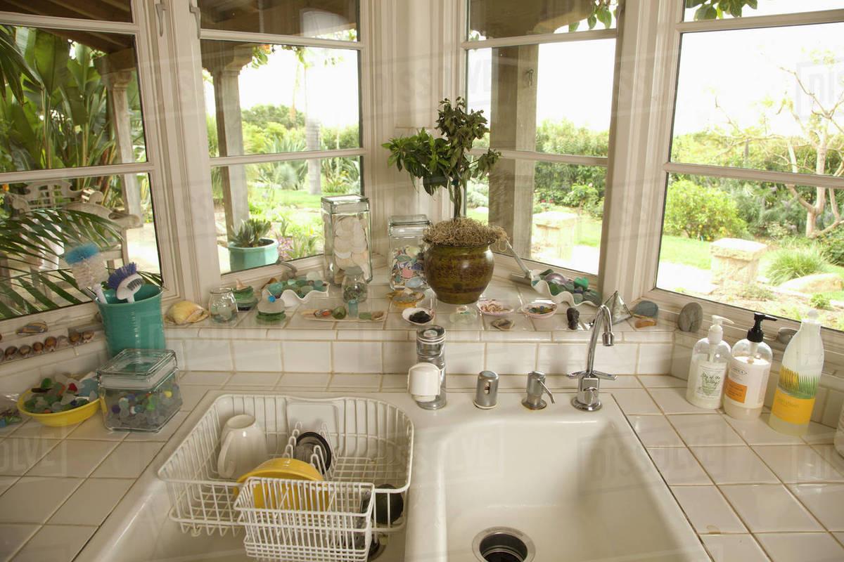 Kitchen Sink In Corner With Windows Stock Photo Dissolve