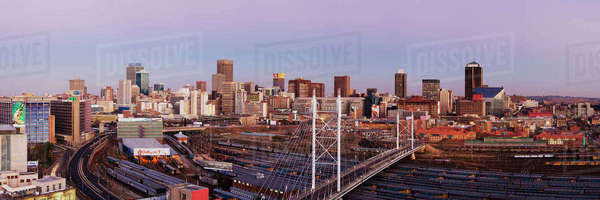 Johannesburg Skyline and Railway Station Royalty-free stock photo