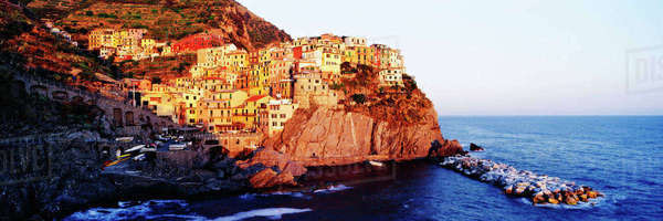 Cinque Terra town of Manarola at Sunset Royalty-free stock photo