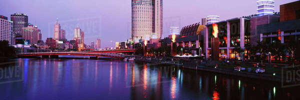 Melbourne and the Yarra River at Dusk Royalty-free stock photo