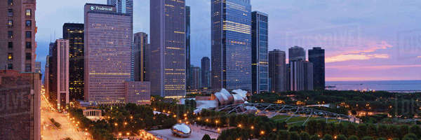 Downtown Chicago Overlooking Millennium Park at Dawn Royalty-free stock photo