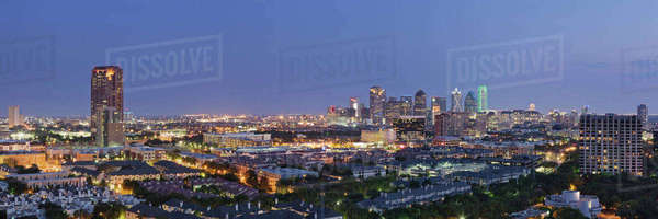 Dallas Neighborhood in the Evening Royalty-free stock photo