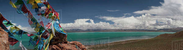 View of freshwater Lake Manasarovar from Chiu Gompa or Monastery Royalty-free stock photo