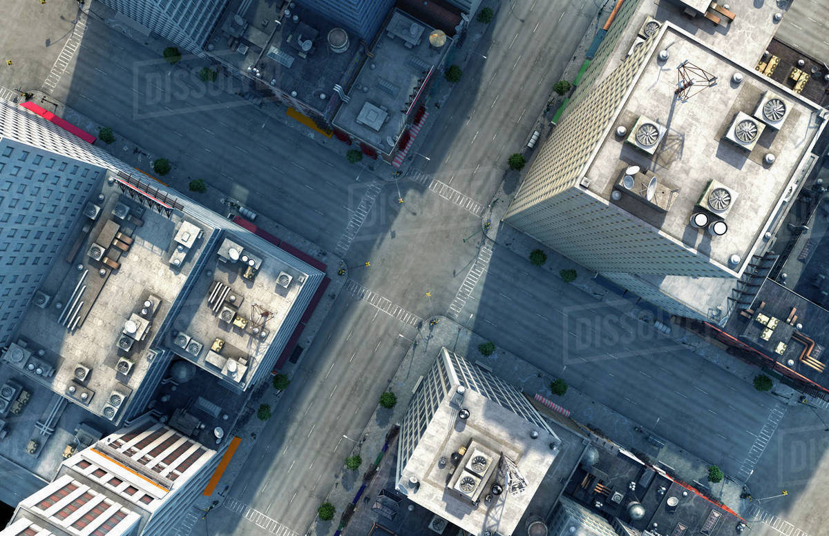 Aerial View Of New York City Intersection New York United States