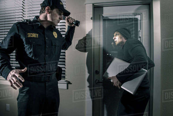 Caucasian police officer shining flashlight on burglar stealing laptop Royalty-free stock photo
