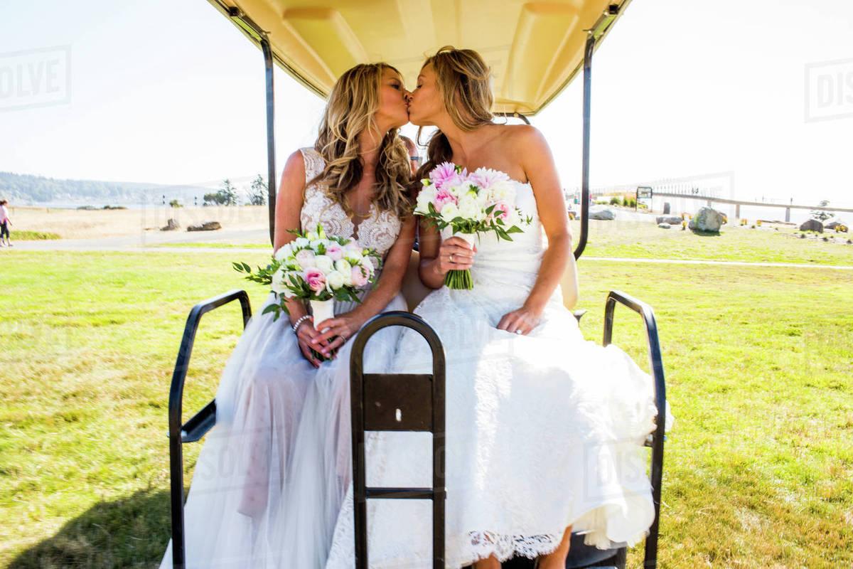 Brides kissing in golf cart - Stock Photo - Dissolve on dinner dress, performance dress, scooter dress, boat dress, convertible dress, tank dress, tee dress, house dress, accessories dress,