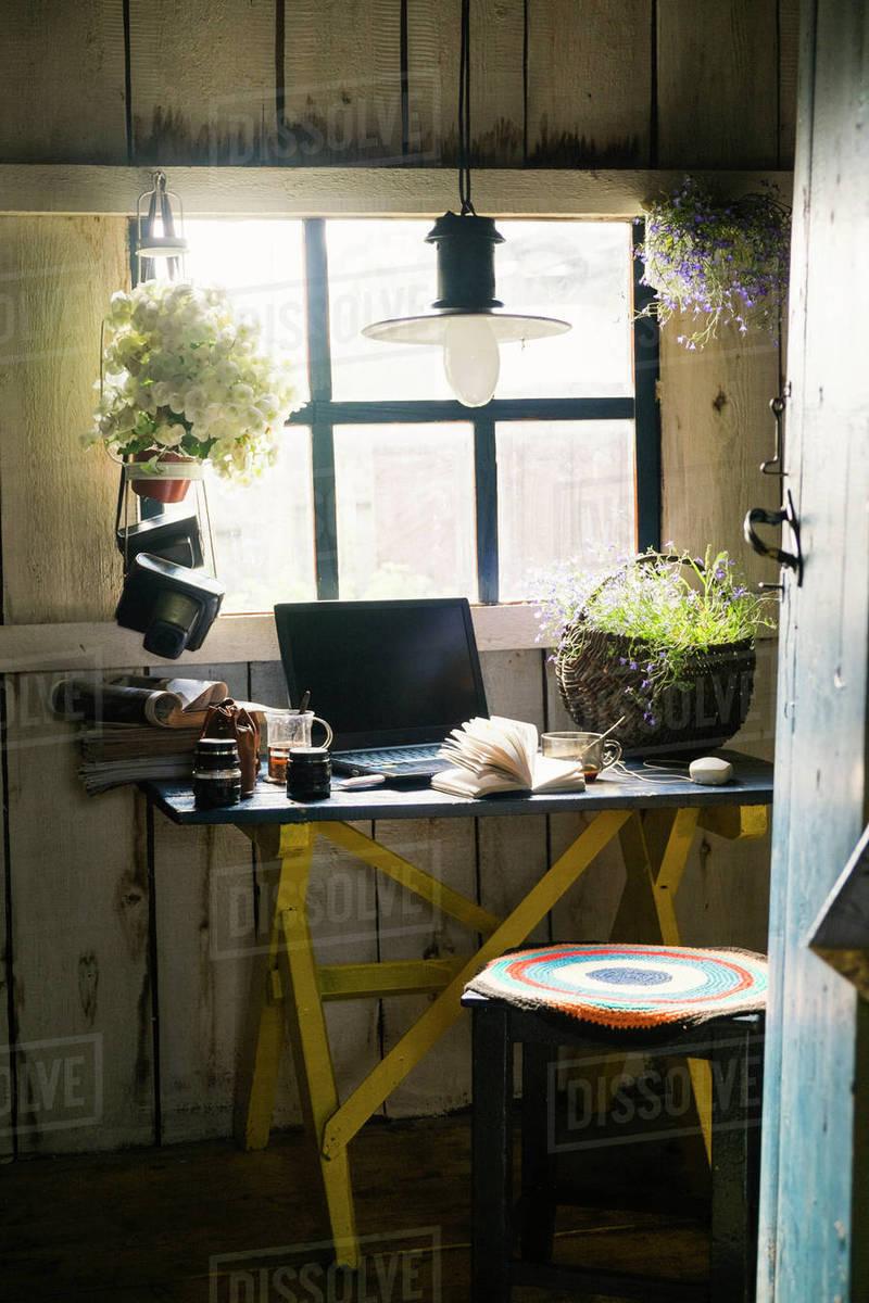 Laptop And Plants Near Rustic Window Stock Photo Dissolve