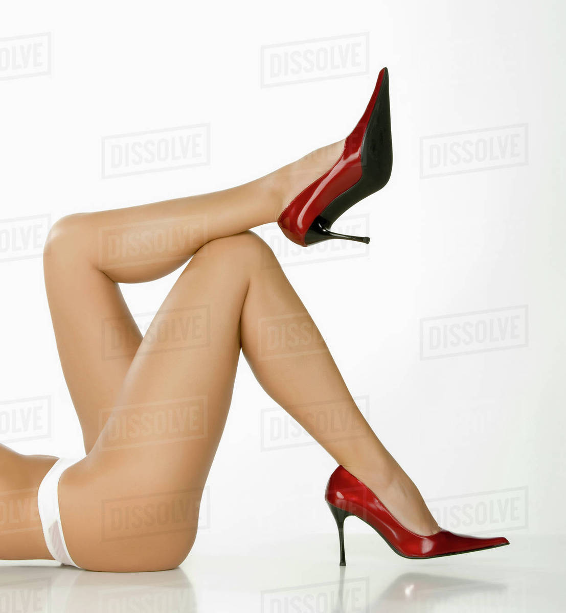 Woman Stock Caucasian Wearing Legs Photo Of Laying On Heels Floor High DHWI29E