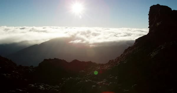 Scenic view of sunrise on top of Haleakala Crater Royalty-free stock video