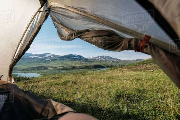 View from tent in mountains Royalty-free stock photo