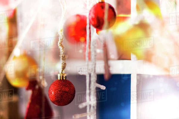 Close up of Christmas ornaments Royalty-free stock photo