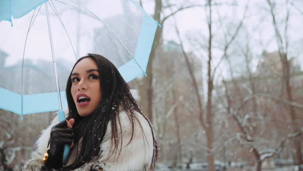 Thai transgender woman enjoying snow, New York City, United States Royalty-free stock video