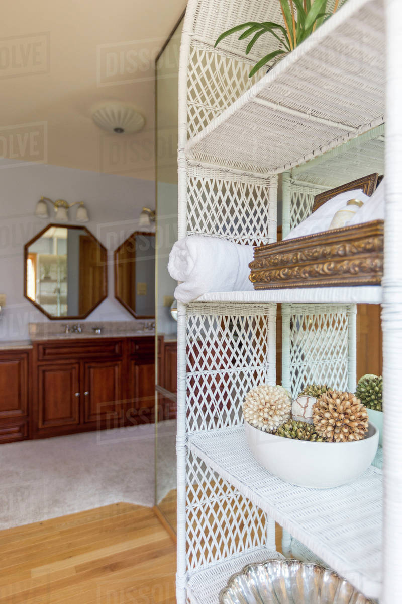 Wicker Shelves Outside Bathroom
