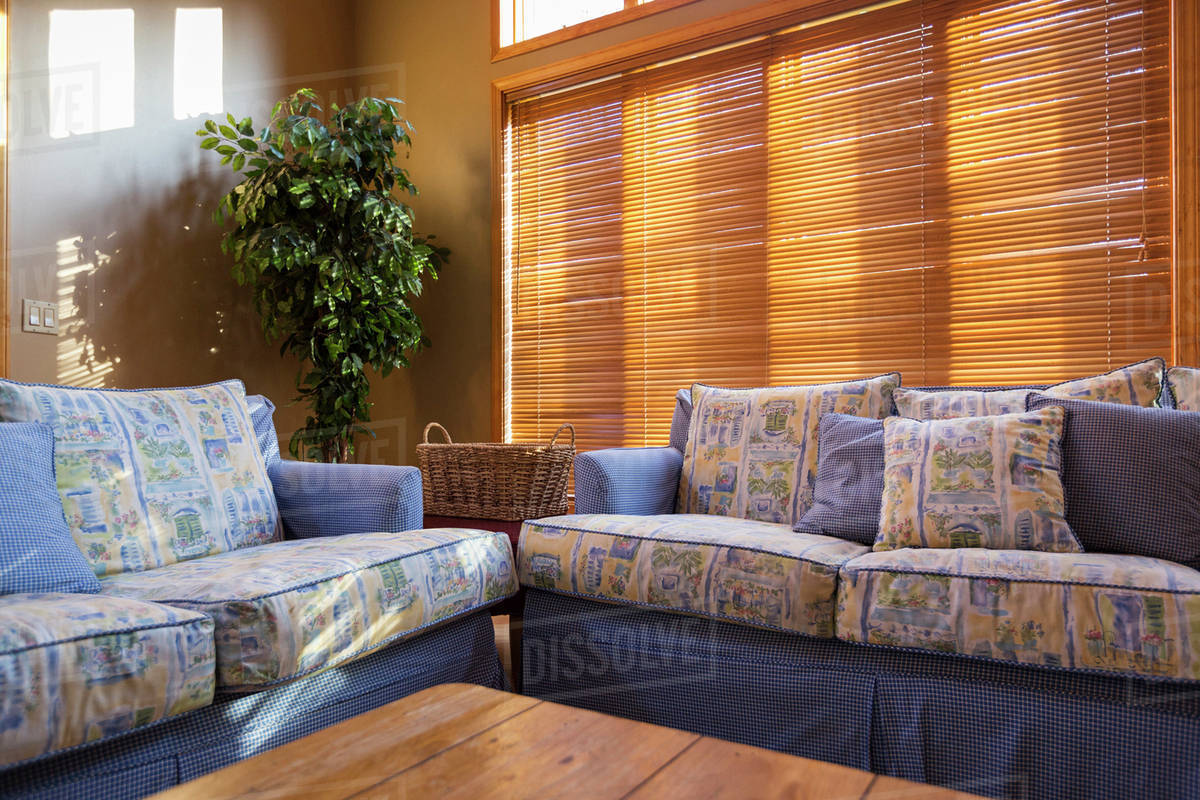 Wood Blinds Behind Sofas In Living Room Stock Photo Dissolve