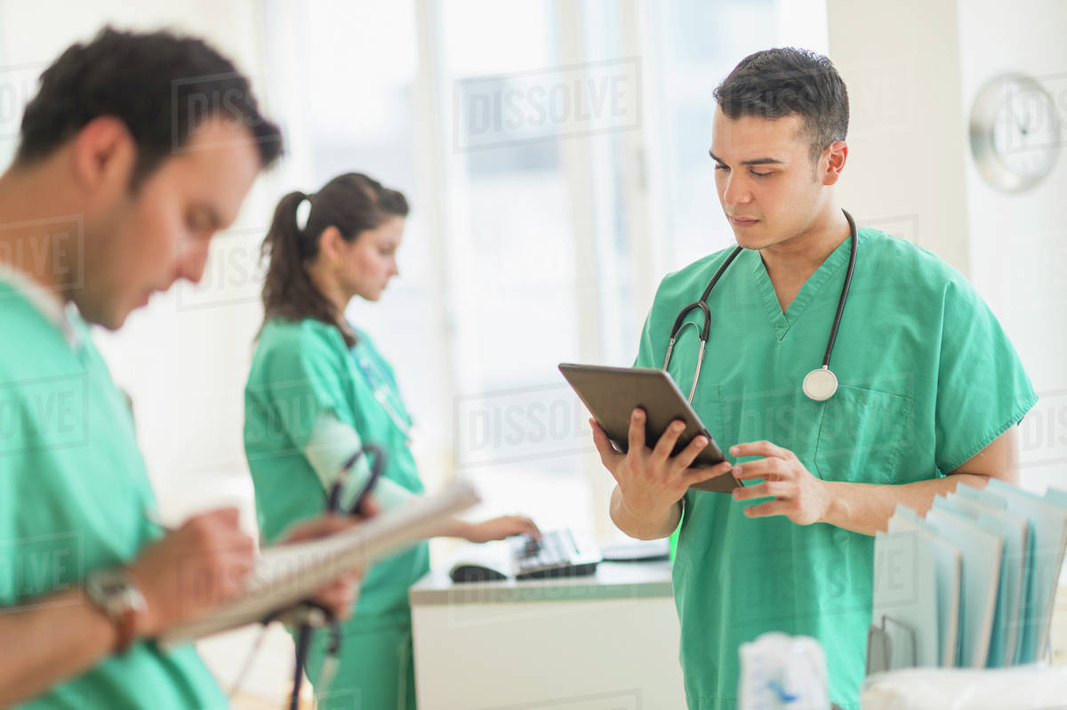 Hispanic nurses working in hospital Royalty-free stock photo