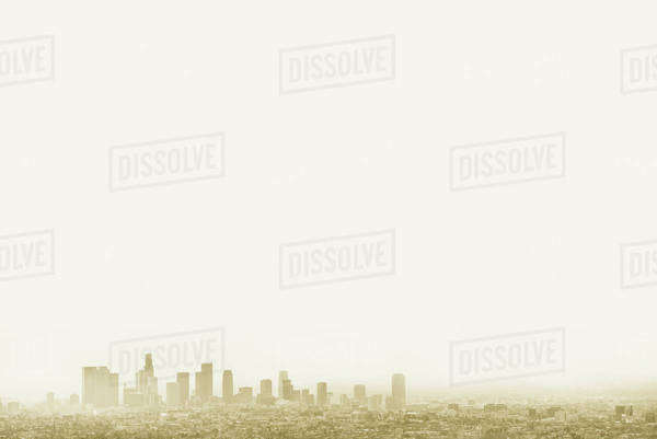 Silhouette of city skyline in hazy sky, Los Angeles, California, United States Royalty-free stock photo