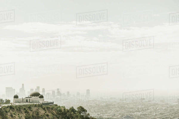Observatory and city skyline in hazy sky, Los Angeles, California, United States Royalty-free stock photo
