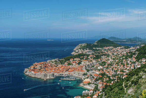 Aerial view of coastal city on hillside, Dubrovnik, Dubrovnik-Neretva, Croatia Royalty-free stock photo