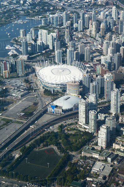 Aerial view of stadium in Vancouver cityscape, British Columbia, Canada Royalty-free stock photo