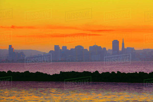 Colorful sunset sky over San Francisco city skyline, California, United States Royalty-free stock photo