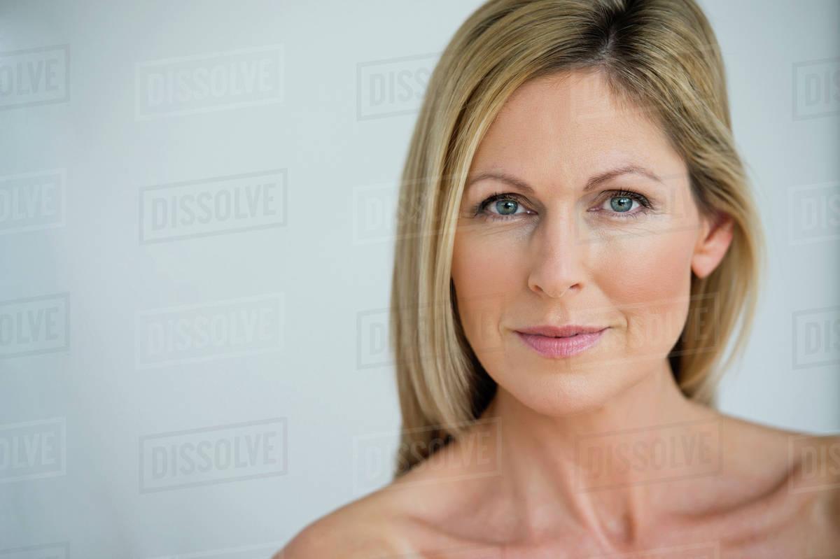 Mature women smiling nude Nude Caucasian Woman Smiling Stock Photo Dissolve