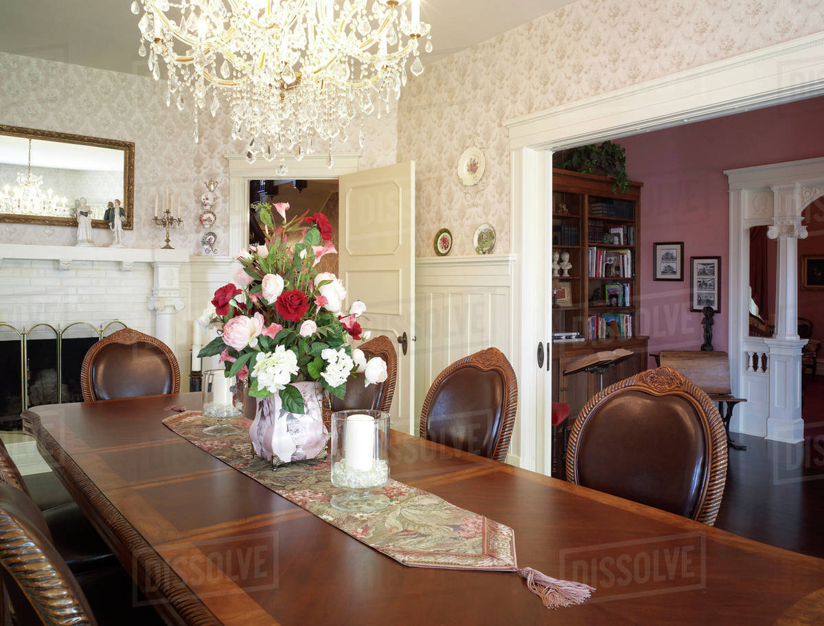Bouquet of flowers on table in ornate dining room at hulbert mansion bouquet of flowers on table in ornate dining room at hulbert mansion aberdeen washington united states izmirmasajfo