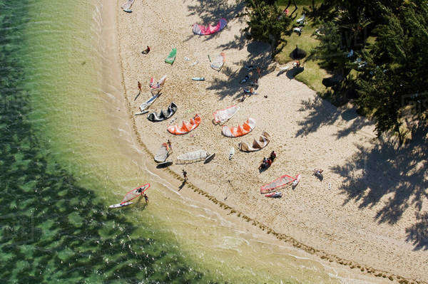 Aerial view of kitesurfers on beach Royalty-free stock photo