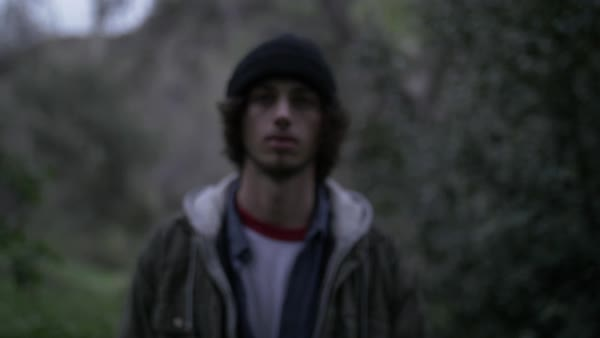 Push-out shot of a young man standing in a forest Royalty-free stock video