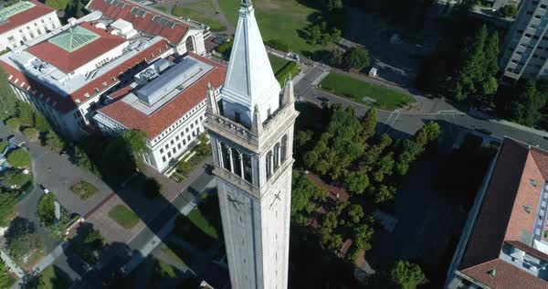 Drone shot of Sather Tower on Berkeley campus of University of California Royalty-free stock video